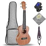 Soprano Ukulele Ranch 21 inch Professional Wooden ukelele Instrument Kit With Free Online 12 Lessons Small Hawaiian Guitar Beginner ukalalee Starter Pack Bundle Gig bag&Tuner&Strap&4 Aquila String Set