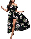 BIUBIU Women's Off Shoulder Floral Rayon Party Maxi Split Romper Dress Black Green L
