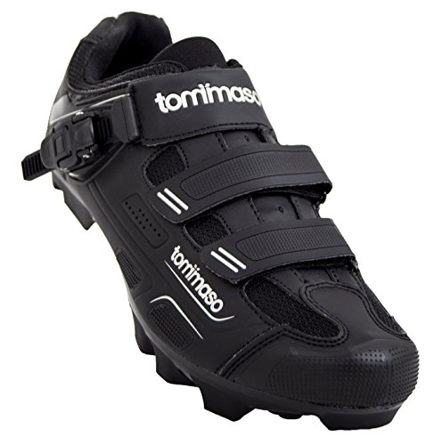 Tommaso Montagna 200 Men's Mountain Bike MTB Spin Cycling Shoe with Buckle Compatible with SPD Cleats Black - 45
