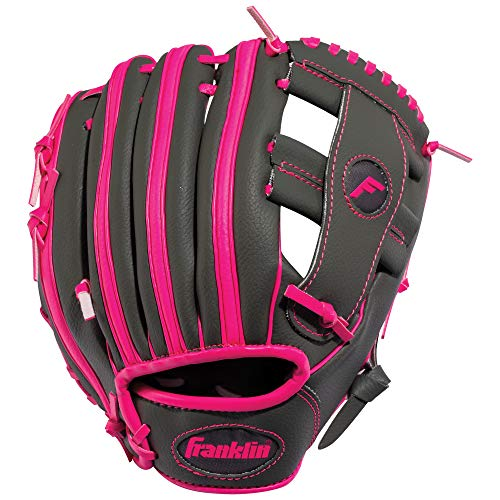 Franklin Sports RTP Teeball Performance Gloves, 9.5', Right Hand Throw, Graphite/Pink