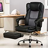 YAMASORO High-Back Executive Office Chair Leather, Adjustable Ergonomic Swivel Computer Desk Chair with Flip-up Armrest,Back Support for Working, Studying (Black,)