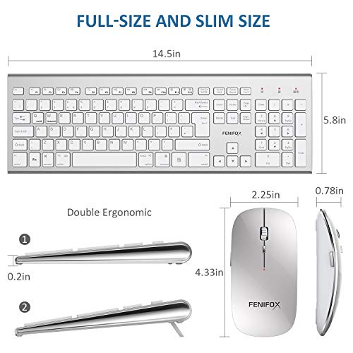 512JV2eJunL - FENIFOX Wireless Keyboard & Mouse, Dual System Switching Double Ergonomic 2.4G USB QWERTY Full Size UK Layout for Computer PC Mac imac Laptop Windows 10 8 7 Xp (Silver & White)