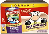 Horizon Organic, Low Fat Milk with DHA Omega-3, Vanilla, 8-Oz Aseptic Cartons (Pack of 12), Juice Box Alternative, Supports Brain Health