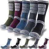 DEARMY 5Pack of Men's Multi Performance Cushion Outdoor Sports Hiking Trekking Crew Socks|Moisture Wicking (1 x Black, 1 x Charcoal, 1 x Olive, 1 x Blue, 1 x Purple, Large (Shoe Size: 9-11.5))