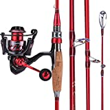 Sougayilang Fishing Rod and Reel Combos, Lightweight Carbon Fiber Fishing Pole and13+1BB Corrosion Resistant Bearings Fishing Reel for Travel 4-Piece Salt Fresh Water.