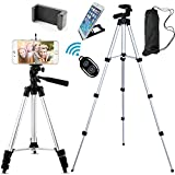 Jiraiya Aluminum Professional Lightweight Camera Tripod for iPhone, Cellphone,Gopro Hero,Cameras,Camcorder with Cellphone Holder Clip and Remote Shutter-43'/Silver
