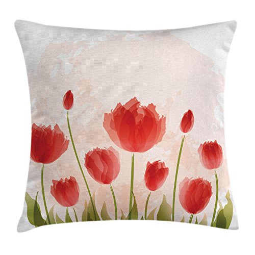 Ambesonne Floral Throw Pillow Cushion Cover, Romantic Tulip Bloom Flower Meadow Fresh Feminine Buds Watercolor Effect, Decorative Square Accent Pillow Case, 16 X 16 Inches, Vermillion Green Peach