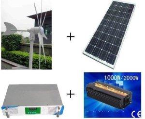Gowe® 500w hybrid system,300w wind turbine+100w x2 solar panel+1000w hybrid controller+1000w inverter