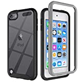 iPod Touch 7 Case Touch 6 Case Touch 5 Case, Re-sport Shockproof Dustproof Anti-Scratch Full Body Protective Cover Case Built-in Screen Protector Compatible with iPod Touch 5th/6th/7th - Black