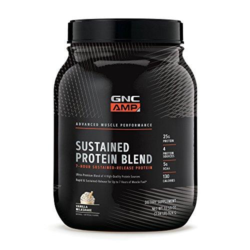 GNC AMP Sustained Protein Blend, Vanilla Milkshake, 32.29 oz.
