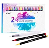 Watercolor Real Brush Pens Set, 24 Vibrant Markers with 1 Refillable Water Brush Pen for Artists and Beginner, Flexible Brushes Tip for Calligraphy Lettering Coloring Hand Writing Sketching