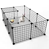 JYYG Pet Playpen, Guinea Pig Cage, Small Animal Cage, Dog Playpen Indoor Metal Wire Rabbit Cage Yard Fence for Small Animals, Guinea Pigs, Rabbits Kennel Crate Fence Tent, Black 12 Panels