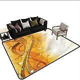 Orange,Rug Bathroom Mat 60'x 72' Abstract Curves of Color American Floor mats
