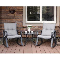 COSIEST 3 Piece Bistro Set Patio Rocking Chairs Outdoor Furniture w Warm Gray Cushions, Glass-Top Table for Garden, Pool, Backyard
