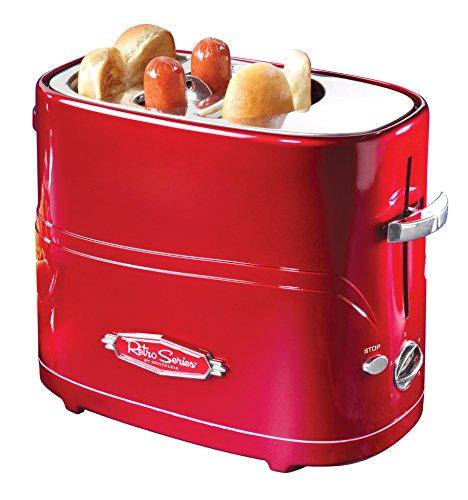 Nostalgia HDT600RETRORED Retro Pop-Up Hot Dog Toaster, Retro Red