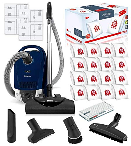 Miele-Compact-C2-Electro-Canister-HEPA-Canister-Vacuum-Cleaner-with-SEB-228-Powerhead-Bundle-Includes-Miele-Performance-Pack-16-Type-FJM-AirClean-Genuine-FilterBags-Genuine-AH50-HEPA-Filter