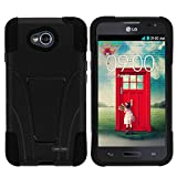LG Ultimate 2 Case, Dual Layer Shell STRIKE Impact Kickstand Case with Unique Graphic Images for LG Optimus L70 MS323, LG Optimus Exceed 2 VS450PP, LG Realm LS620, LG Ultimate 2 L41C (Metro PCS, Verizon, Boost Mobile) from MINITURTLE | Includes Clear Screen Protector and Stylus Pen - Black
