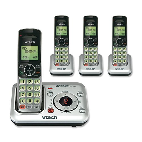 VTech CS6429-4 4-Handset DECT 6.0 Cordless Phone with Answering System and Caller ID, Expandable up to 5 Handsets, Wall-Mountable, Silver/Black