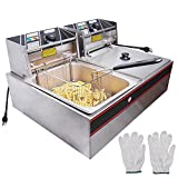 Yescom 12L 5000W Stainless Steel Electric Countertop Deep Fryer Dual Tank Basket for Commercial Restaurant
