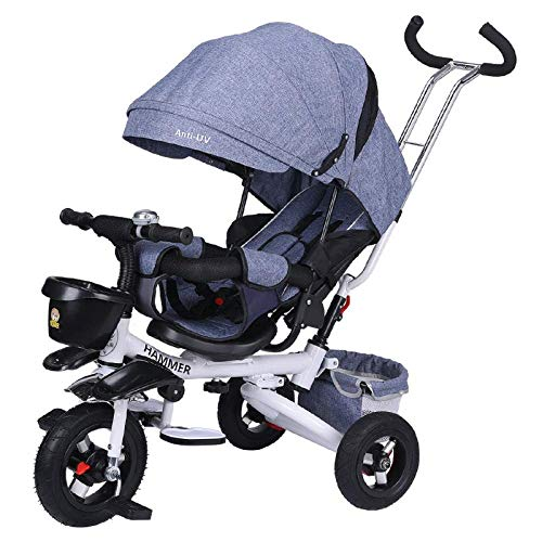 Childrens Tricycle 4 In 1 Childrens Folding Tricycle 8 Months To 6 Years 5-Point Safety Belt 360° Swivelling Saddle Children's Pedal Tricycle Adjustable Backrest Child Trike Maximum Weight 50 Kg T