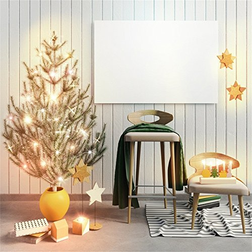 Laeacco 10x10ft Vinyl Photography Background Modern Christmas Interior Scandinavian Style 3D Decoration Background Mock Up Poster Wooden Texture Wall Board Xmas Tree Star Wall Family Children Birthday