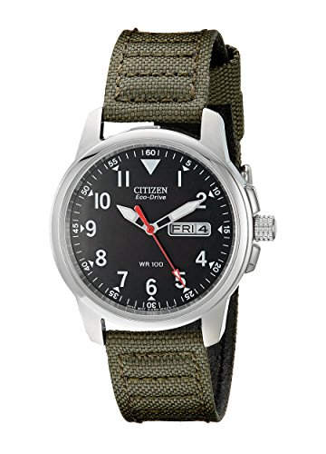 512YfU95EPL Stainless steel watch featuring round black dial with date window and stitched canvas band Japanese-quartz movement that charges in natural or indoor light Mineral crystal dial window