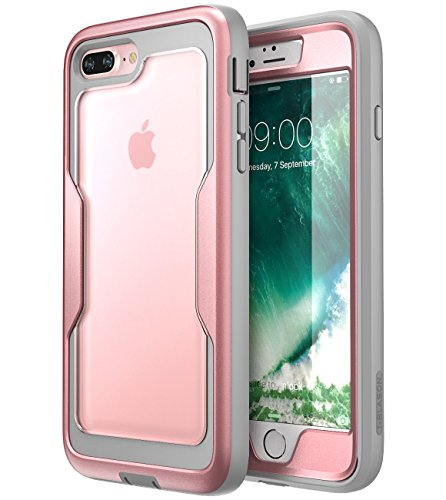 iPhone 8 Plus Case, iPhone 7 Plus case, i-Blason [Heavy Duty Protection] [Magma Series] Shock Reduction/Full Body Bumper Case with Built-in Screen Protector for iPhone 8 Plus 2017 (RoseGold)