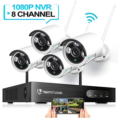HeimVision HM241 WiFi Security Camera System, 8CH 1080P NVR 4Pcs 960P Outdoor/Indoor WiFi Surveillance Cameras with Night Vision, Weatherproof, Motion Detection, Remote Monitoring, No Hard Drive