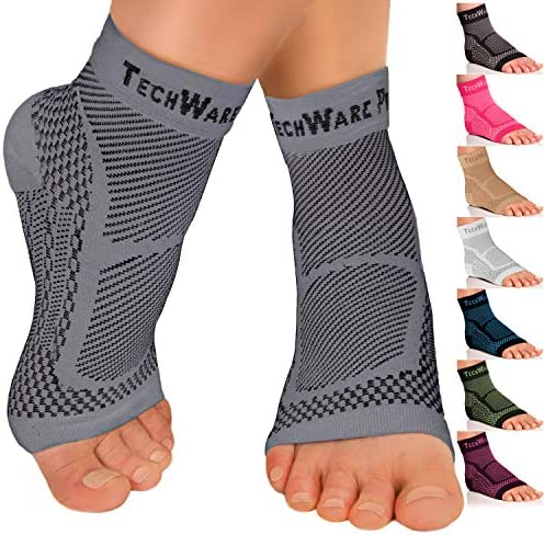 TechWare Pro Ankle Brace Compression Sleeve - Relieves Achilles Tendonitis, Joint Pain. Plantar Fasciitis Sock with Foot Arch Support Reduces Swelling & Heel Spur Pain. Injury Recovery for Sports 1