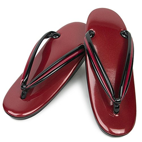 KYOETSU Women's Pearl-Like Enamel Zori Formal Sandals for Japanese Kimono and Yukata (Medium, 02.Red)