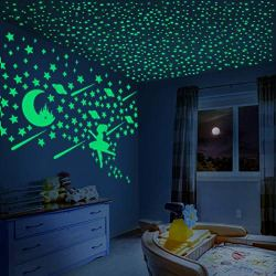 Glow in The Dark Stars Glowing Dancing Girls Surrounded by Glow Moon Castle, Planet and Stars Stickers for Girls Bedding Room Ceiling & Wall Decals – 280PCS