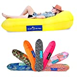 Chillbo Don POOLIO Pool Floats for Adults - Cool Patterns, Inflatable Sofa & Kids Hammock - Best Camping Gear for River Floats Hammock Chair & Raft for Beach (Yellow)
