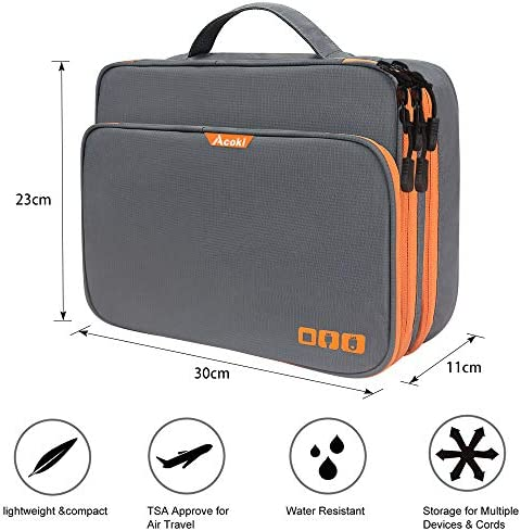 Acoki Three Layer Electronic Accessories Organizer, New Storage Handbag with Front Pocket Travel Cable Organizer Bag Waterproof Carry Pouch for iPad,Hard Drives, Power, Grey