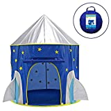PEACE BIRD Rocket Ship Play Tent - Kid Children Girls Boys Baby Indoor & Outdoor Toys Foldable Playhouses Tents with Carry Case Great Birthday Gift Idea