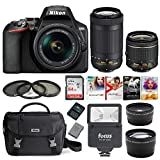Nikon D3500 DSLR Camera with AF-P 18-55mm and 70-300mm Zoom Lenses + 64GB Card + Accessory Bundle