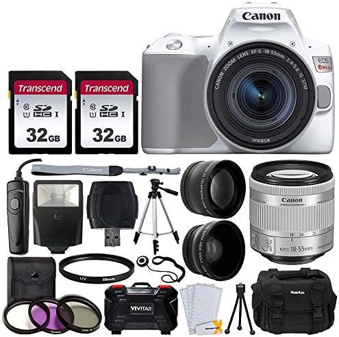 Canon EOS Rebel SL3 Digital SLR Camera (White) + EF-S 18-55mm f/4-5.6 IS STM Lens + 58mm 2X Professional Telephoto & 58mm Wide Angle Lens + 64GB Memory Card + DC59 Case + Tripod + Slave Flash + Remote