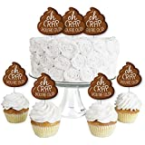 Big Dot of Happiness Oh Crap, You're Old - Dessert Cupcake Toppers - Poop Birthday Party Clear Treat Picks - Set of 24