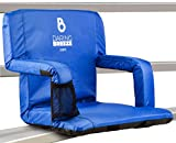 Stadium Seats for Bleachers with Back and Cushion I Game-Changer for all Sports Parents and Spectators I Padded Reclining and Folding Chair with Wide Sitting Option and Backpack Shoulder Straps