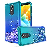 LG Stylo 4 Case,LG Stylo 4 Plus Case,LG Q Stylus Case,Quicksand Bling Glitter/Sparkle Heart-shaped Sequin TPU Bumper,Heavy Duty Shockproof Protective Case for Women/Girls.Teal/Blue