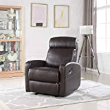 Brown Faux Leather Rocking Recliner Lounge Chair - Modern Overstuffed Ergonomic Lounger Chair, Comfortable Padded Seats for Living or Home Theater Room, Office Lounge Seating Rocker Recliners (Brown)