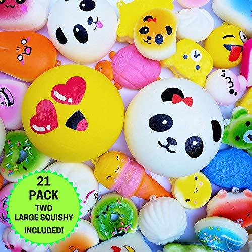 20pc Pack Of Squishy Toys, Plus Bonus Large Squishy For 21 Slow Rising Squishys! Jumbo, Medium & Mini Squishy Stress Toys. Best Cute Squishies Gift For Boys and Girls