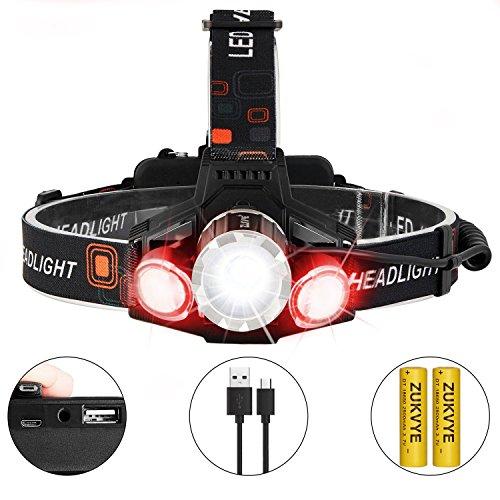 LED Headlamp Flashlight - Zukvye Cree LED Headlamps, Waterproof & Comfortable - Perfect Headlamps for Running, Walking, Camping, Reading, Hiking, Kids, DIY & More,