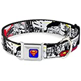 "Buckle-Down Seatbelt Buckle Dog Collar - Superman Comic Strip - 1"" Wide - Fits 15-26"" Neck - Large"