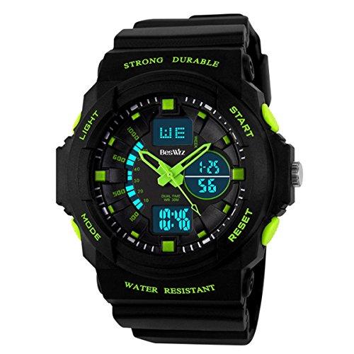 BesWLZ Multi Function Mens Military DualTime Digital Analog Chronograph Sport Wrist Watch 50M Water Resistant Waterproof for Boy Girls Child Kids Gift (Green)