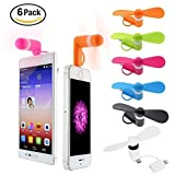 BESTZY Mini USB Phone Fan Portable 2 in1 Micro USB Fan for iPhone/iPad / Android Smartphones, 6 Pack