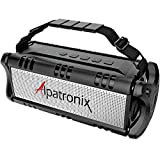 Alpatronix AX500 5400mAh 40W Portable IPX5 Rugged Waterproof Bluetooth Wireless Stereo Speaker & Subwoofer with TWS, USB Drive, Power Bank, Equalizer & Attached Strap for Indoor/Outdoor - Black
