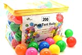 Pack of 200 Phthalate Free BPA Free Crush Proof Plastic Ball, Pit Balls - 6 Bright Colors in Reusable and Durable Storage Bag with Zipper by Oojami