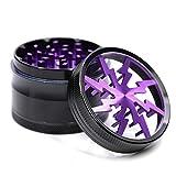 4 Piece 2.5' Aluminum Lightning Pattern Clear Top Herb Grinder (Purple)