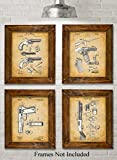 Original Remington Guns Patent Art Prints - Set of Four Photos (8x10) Unframed - Makes a Great Gift Under $20 for Gun Owners, Military Army or Marine