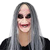 Waltz&F Halloween Long Hair Sorceress Smile mask Latex Mask for Party or Cosplay